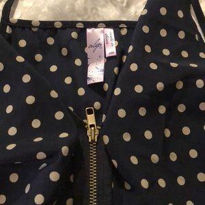 Alya Dresses - Navy polka dot dress- spaghetti strap